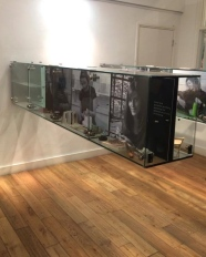 A lovely touch that really added to the exhibition. These glass cabinets showcased a photograph and some of the maker's tools, showing the process behind the object.