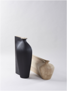 Zaha Hadid and Gareth Neal's sculptural vessel series made as part of their collaboration for the Wish List project in 2014; which Hester worked on.