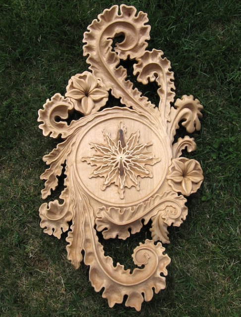 Ocean Leaves carved clock.